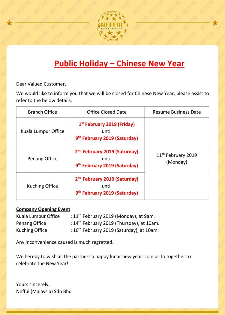 Public Holiday Notice – Chinese New Year