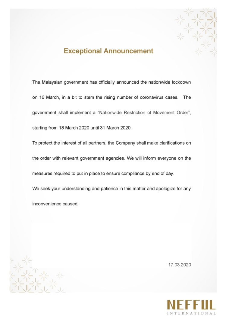 Exceptional Announcement