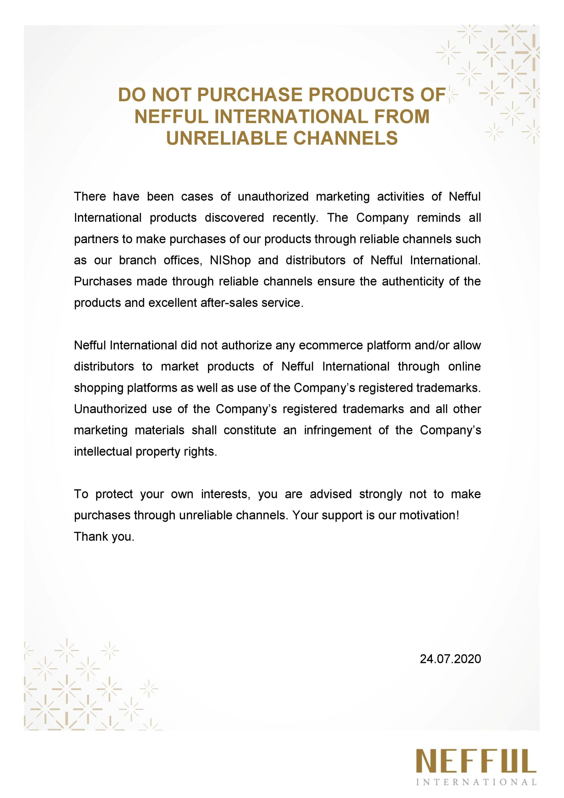 DO NOT PURCHASE PRODUCTS OF NEFFUL INTERNATIONAL FROM UNRELIABLE CHANNELS_24072020-page-001